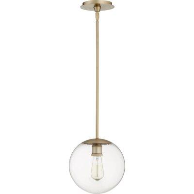 Doster 1-Light Globe Pendant Finish: Aged Brass, Size: 10 H x 10 W x 5 D