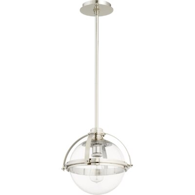 Doucet Meridian 1-Light Globe Pendant Finish: Polished Nickel, Size: 12 H x 12.5 W x 5 D