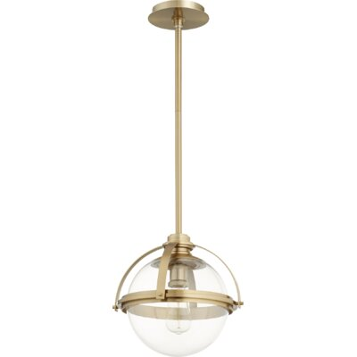 Doucet Meridian 1-Light Globe Pendant Finish: Aged Brass, Size: 12 H x 12.5 W x 5 D
