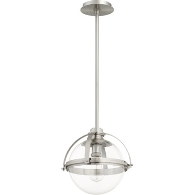 Doucet Meridian 1-Light Globe Pendant Finish: Satin Nickel, Size: 12 H x 12.5 W x 5 D