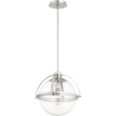 Doucet Meridian 1-Light Globe Pendant Finish: Polished Nickel, Size: 15.5 H x 14.75 W x 5 D