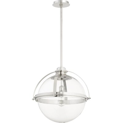 Doucet Meridian 1-Light Globe Pendant Finish: Polished Nickel, Size: 20 H x 19.5 W x 5 D