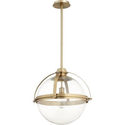 Doucet Meridian 1-Light Globe Pendant Finish: Aged Brass, Size: 20 H x 19.5 W x 5 D