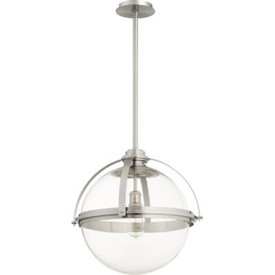Doucet Meridian 1-Light Globe Pendant Finish: Satin Nickel, Size: 20 H x 19.5 W x 5 D