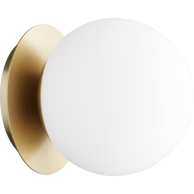 Cass Globe 1-Light Semi Flush Mount Fixture Finish: Aged Brass