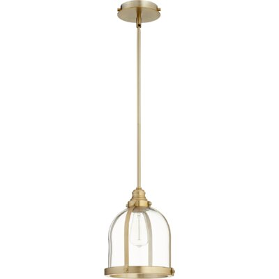 Doucette Banded Dome 1-Light Lantern Pendant Finish: Aged Brass