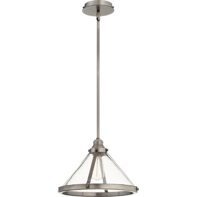 Dougan Banded Cone 1-Light Mini Pendant Finish: Antique Silver