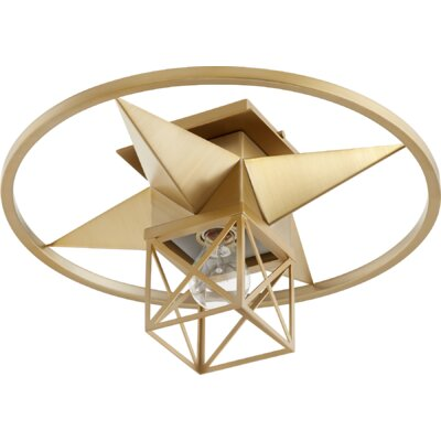 Douglaston Star Cage 1-Light Semi Flush Mount Fixture Finish: Aged Brass