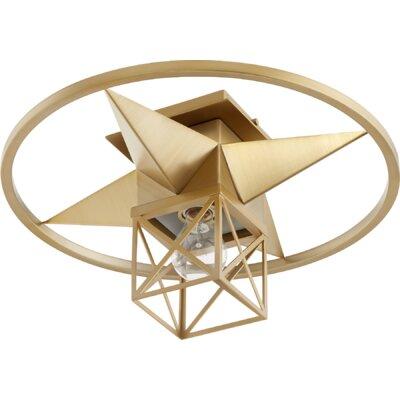 Douglaston Star Cage 1-Light Semi Flush Mount Fixture Finish: Aged Brass