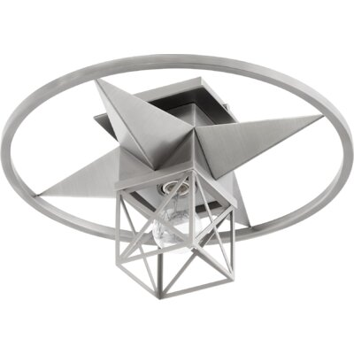Douglaston Star Cage 1-Light Semi Flush Mount Fixture Finish: Satin Nickel