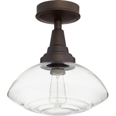 Dove Springs Lenticular 1-Light Semi Flush Mount Fixture Finish: Oiled Bronze