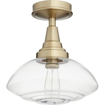 Dove Springs Lenticular 1-Light Semi Flush Mount Fixture Finish: Aged Brass