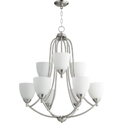 Brophy 9-Light Candle-Style Chandelier Color: Satin Nickel