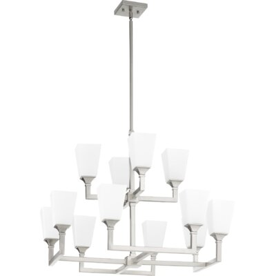 Moretti 12-Light Candle-Style Chandelier Finish: Satin Nickel