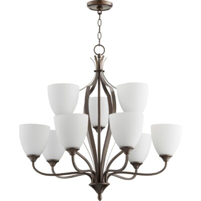 Brookview 9-Light Candle-Style Chandelier Color: Oiled Bronze