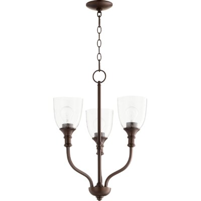 Falbo 3-Light Candle-Style Chandelier Finish: Oiled Bronze, Shade Color: Clear