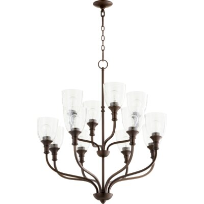 Falbo 12-Light Candle-Style Chandelier Finish: Oiled Bronze, Shade Color: Clear