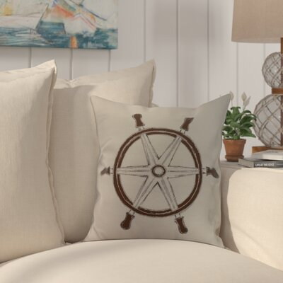 Harriet Ship Wheel Throw Pillow Color: Ivory, Size: 26 x 26