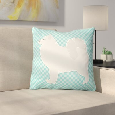 Samoyed Square Indoor/Outdoor Throw Pillow Size: 18 H x 18 W x 3 D, Color: Blue