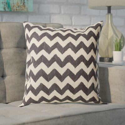 Jeramiah 100% Cotton Throw Pillow Size: 22 H x 22 W x 2.5 D, Color: Charcoal