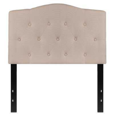 Fitz Cambridge Tufted Upholstered Panel Headboard Size: Twin, Upholstery: Beige