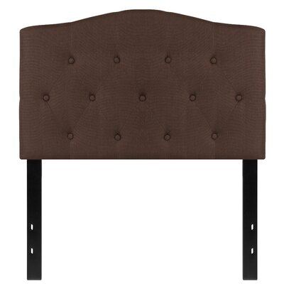 Fitz Cambridge Tufted Upholstered Panel Headboard Size: Twin, Upholstery: Dark Brown