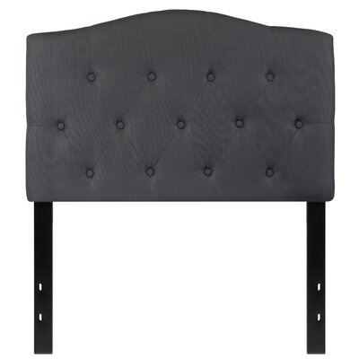 Fitz Cambridge Tufted Upholstered Panel Headboard Size: Twin, Upholstery: Dark Gray