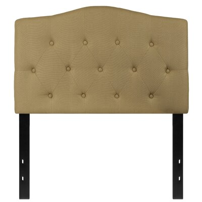 Fitz Cambridge Tufted Upholstered Panel Headboard Size: Twin, Upholstery: Green