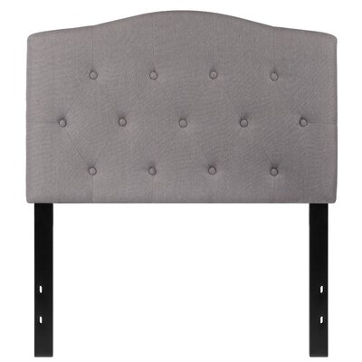 Fitz Cambridge Tufted Upholstered Panel Headboard Size: Twin, Upholstery: Light Gray