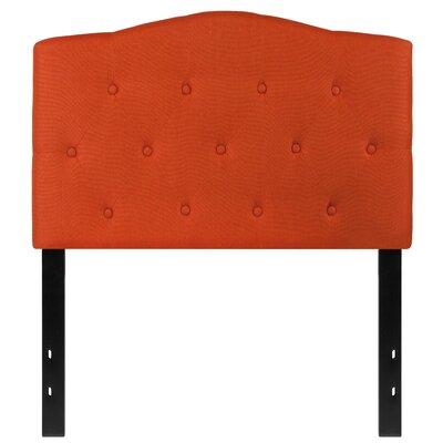 Fitz Cambridge Tufted Upholstered Panel Headboard Size: Twin, Upholstery: Orange