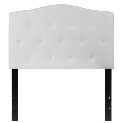 Fitz Cambridge Tufted Upholstered Panel Headboard Size: Twin, Upholstery: White