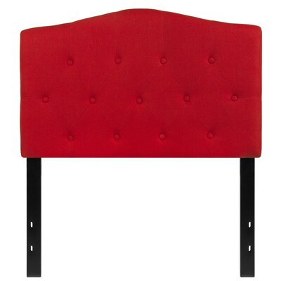 Fitz Cambridge Tufted Upholstered Panel Headboard Size: Twin, Upholstery: Red