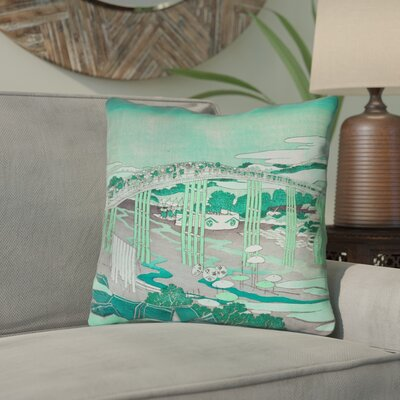 Enya Japanese Bridge Throw Pillow Color: Green, Size: 14 x 14
