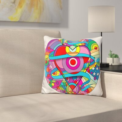 Heart Ribbons Throw Pillow Color: Pink/Green