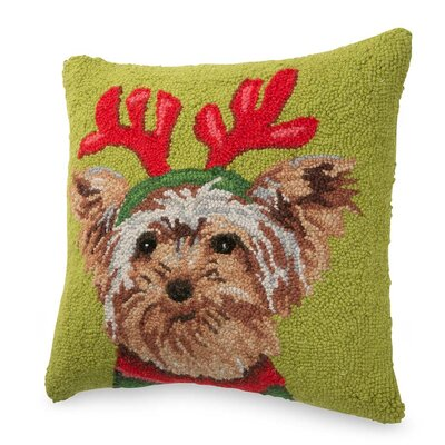 Hand-Hooked Holiday Dog Wool Throw Pillow