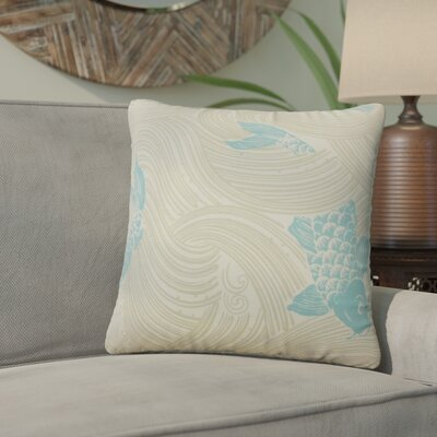 Yuriko Graphic Cotton Throw Pillow Color: Lagoon Blue
