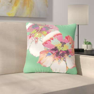 Graphic Flower Nasturtium Throw Pillow Size: 18 H x 18 W x 6 D, Color: Mint