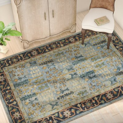Watertown Hand-Hooked Wool Light Blue/Dark Blue Area Rug� Rug Size: Rectangle 5 x 76
