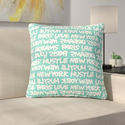 Lux Writing Throw Pillow Size: 16 H x 16 W x 6 D, Color: White / Teal