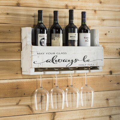 Mccandless Always Be 4 Bottle Wall Mounted Wine Rack Color: White