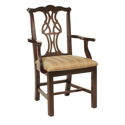 Solid Wood Dining Chair Upholstery Color: Howdy Saddle, Frame Color: Montana Walnut
