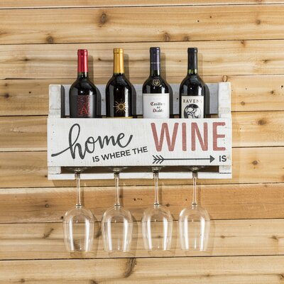Mccandless Home is Where 4 Bottle Wall Mounted Wine Rack Color: White