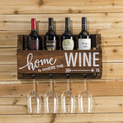 Mccandless Home is Where 4 Bottle Wall Mounted Wine Rack Color: Walnut