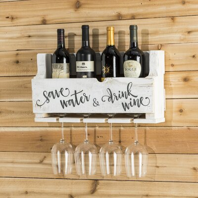 Mccandless Save Water 4 Bottle Wall Mounted Wine Rack Color: White