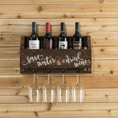 Mccandless Save Water 4 Bottle Wall Mounted Wine Rack Color: Walnut