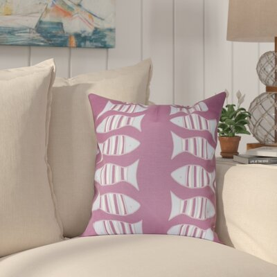 Grand Ridge Somethings Fishy Coastal Throw Pillow Size: 26 H x 26 W, Color: Purple