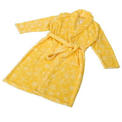 Starfish Microfiber Flannel Fleece Bathrobe Size: Large