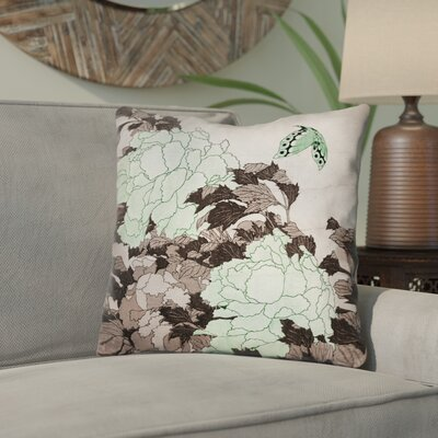 Enya Peonies with Butterfly Throw Pillow Color: Green, Size: 14 x 14