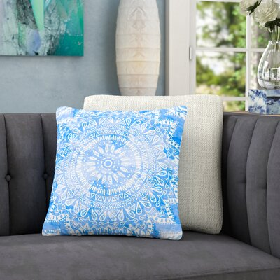 Nika Martinez Boho Flower Mandala Outdoor Throw Pillow Size: 18 H x 18 W x 5 D, Color: Blue