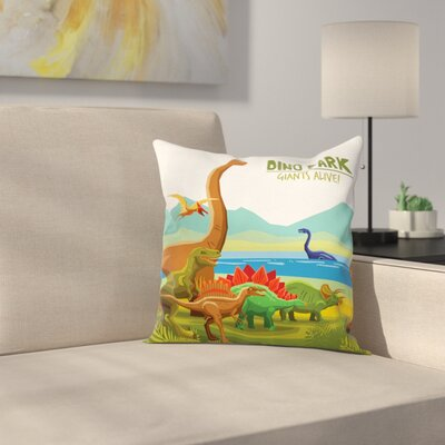 Dinosaur Dino Park Alive Theme Square Cushion Pillow Cover Size: 18 x 18